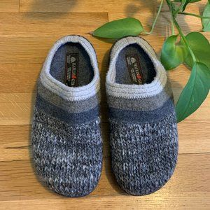 HAFLINGER Unisex Wool Hard Sole Slippers in Grey